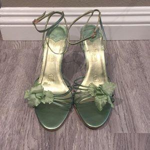 "Cathy Jean 4"" heels, green mint with flower"